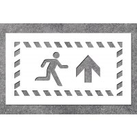 Notausgang rechts oben - Fluchtweg-Schablonen zur Boden- und Wandmarkierung