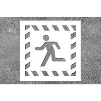 Notausgang links - Rettungszeichen-Schablonen zur Boden- und Wandmarkierung