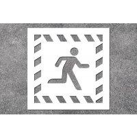 Notausgang rechts - Rettungszeichen-Schablonen zur Boden- und Wandmarkierung