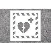 Defibrillator - Rettungszeichen-Schablonen zur Boden- und Wandmarkierung