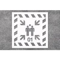 Sammelstelle - Rettungszeichen-Schablonen zur Boden- und Wandmarkierung mit Wunschzahl