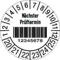 """Prüfplaketten mit Barcode - """"Nächster Prüftermin"""" mit Nummerierung nach Wunsch, auf Rolle"""