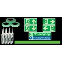 Basic Fluchtwegkennzeichnug Set für Treppen, langnachleuchtend, ASR A3.4/3, ISO 3864 1-4, ISO 16069, DIN EN ISO 7010