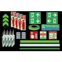 Premium Fluchtwegkennzeichnung Set für Treppen, langnachleuchtend, ASR A3.4/3, ISO 3864 1-4, ISO 16069, DIN EN ISO 7010