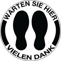 """Antirutsch-Bodenmarkierung """"WARTEN SIE HIER VIELEN DANK"""""""