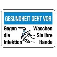 """Hinweisschilder """"GESUNDHEIT GEHT VOR - Gegen die Infektion, Waschen Sie Ihre Hände"""""""