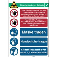 """Covid-19 Arbeitsschutz-Maßnahmen Schilder """"Schutzmaßnahmen"""", Deutsch/Englisch"""