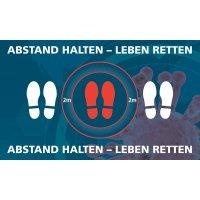 ABSTAND HALTEN - LEBEN RETTEN - SetonWalk Bodenmarkierung, R10 nach DIN 51130/ASR A1.5/1,2
