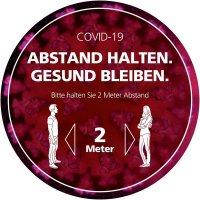 COVID-19 ABSTAND HALTEN - GESUND BLEIBEN, rund - SetonWalk Bodenmarkierung, R10 nach DIN 51130/ASR A1.5/1,2