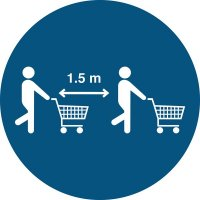 Bitte auch mit Einkaufswagen Abstand halten - SetonWalk Bodenmarkierung, R10 nach DIN 51130/ASR A1.5/1,2