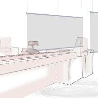 Spuckschutz Hygiene-Trennwand zur Deckenabhängung