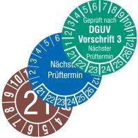Standard-Prüfplaketten in Wunschfarbe, Dokumentenfolie, fälschungssicher