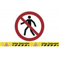 Für Fußgänger verboten - BRADY Bodenmarkierungsband mit Verbotszeichen, bedruckt