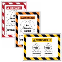 Kombi-Gefahrenschilder mit Signalrahmen, Symbol und Text nach Wunsch, ASR A1.3-2013, DIN EN ISO 7010