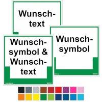 Umweltschilder mit Symbol, Farbe und Text nach Wunsch