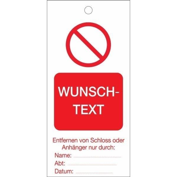 Lockout-Anhänger mit Text und Design nach Wunsch