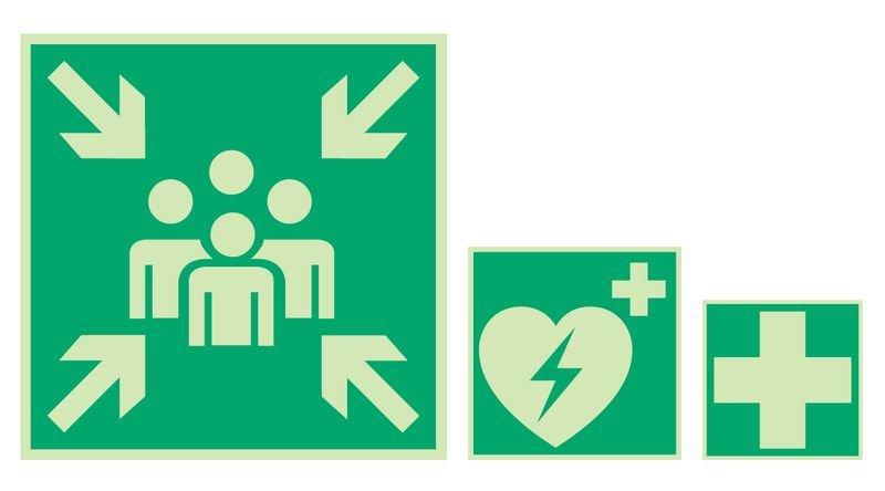 Rettungsweg nur durch Feuerwehrleiter - Rettungszeichen-Symbolschilder, BGV A8, ASR A1.3-2007, DIN 4844-2001