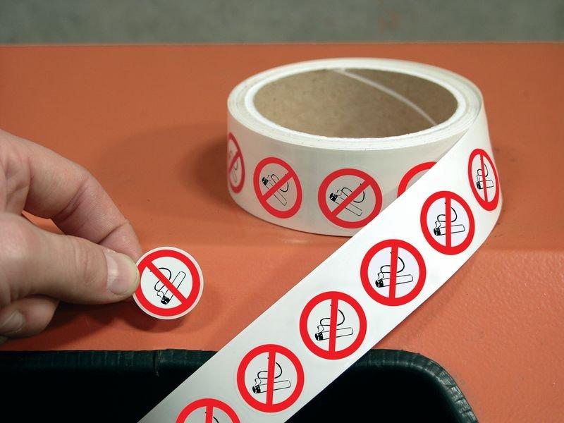 Rauchen verboten - Mini-Piktogramme, auf Rolle, alte BGV A8, DIN 4844-2001, ASR A1.3-2007 - Verbotszeichen alte ASR A1.3, BGV A8