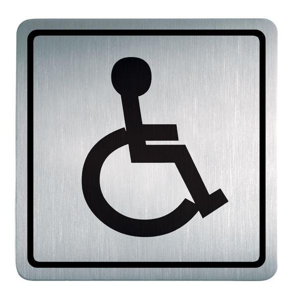 Behinderten Zugang - Piktogrammschilder aus Edelstahl, viereckig, selbstklebend