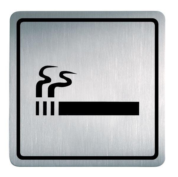 Rauchen erlaubt - Piktogrammschilder aus Edelstahl, viereckig, selbstklebend