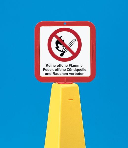 Warnung vor Flurförderzeugen – Schilderhalter für Absperrkegel-Systeme