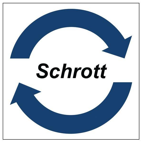 Schrott - System-Wertstoffkennzeichnungen, Symbol und Text