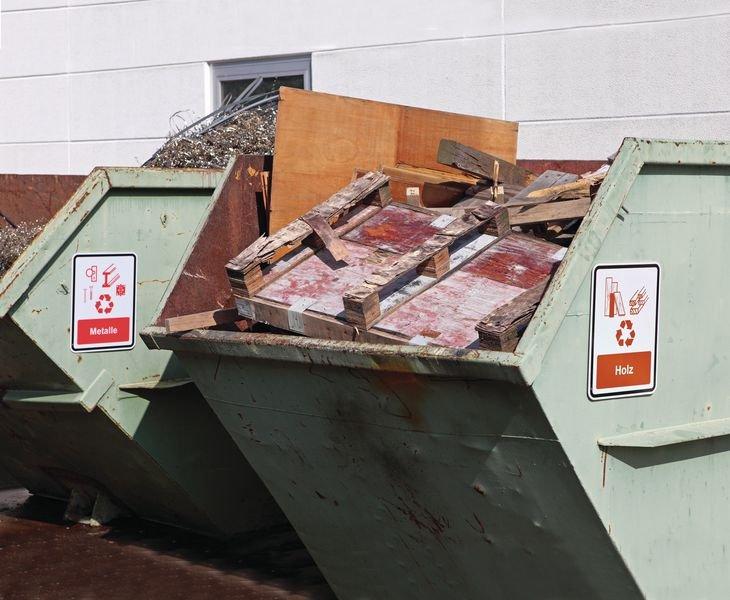 Metalle - PREMIUM Recycling-Kombi-Schilder, massiv für Abfallcontainer - Abfalltrennung
