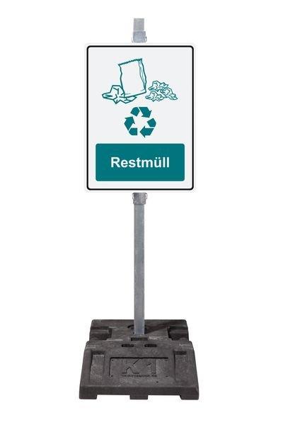 Braunglas - PREMIUM Recycling-Kombi-Schilder, massiv für Abfallcontainer