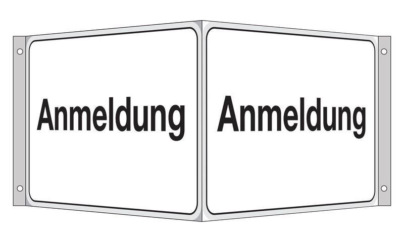 Anmeldung - Fahnen- und Winkelschilder, mit Text