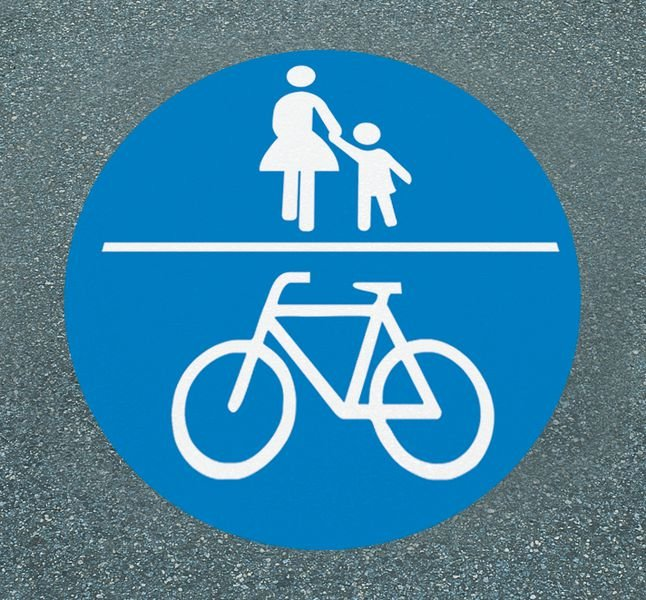 Gemeinsamer Geh- und Radweg - Asphaltfolie zur Straßenmarkierung, R10 nach DIN 51130/ASR A1.5/1,2