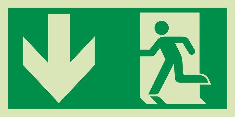 Notausgang links unten - XTRA-GLO Rettungszeichen Kombischilder, ASR A1.3-2013, DIN EN ISO 7010
