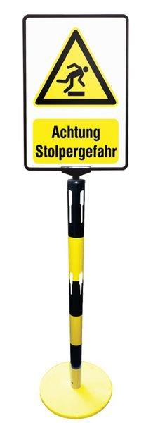 Warnung vor Rutschgefahr – Warnschilder für Stahlpfosten