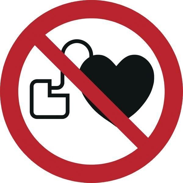 Verbot für Personen mit Herzschrittmacher - Mini-Piktogramme, auf Rolle, ASR A1.3-2013, DIN EN ISO 7010