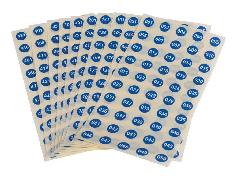 Laboretiketten, fortlaufend nummeriert, auf Bogen