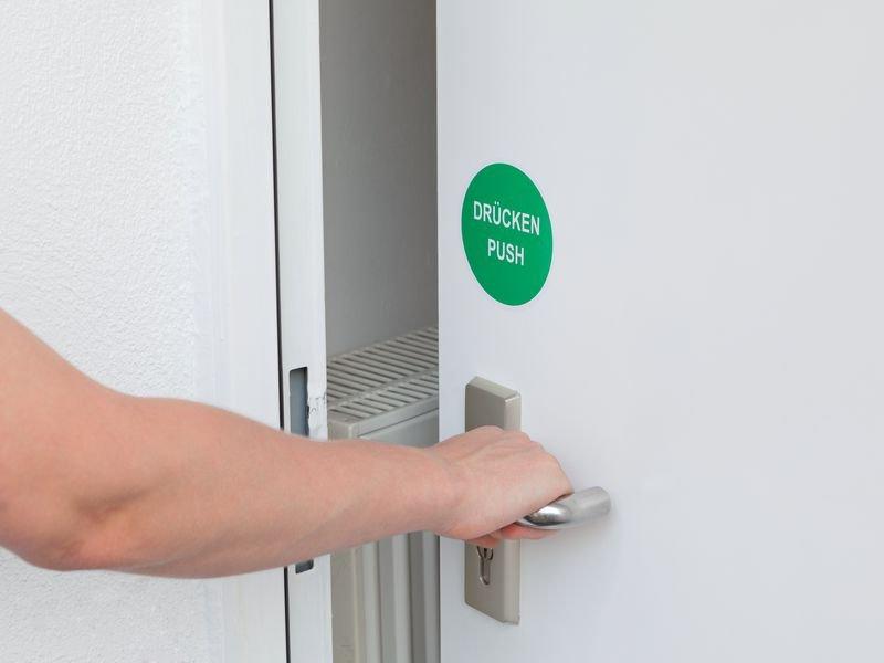 Push - Hinweisschilder, rund, englisch, einseitig