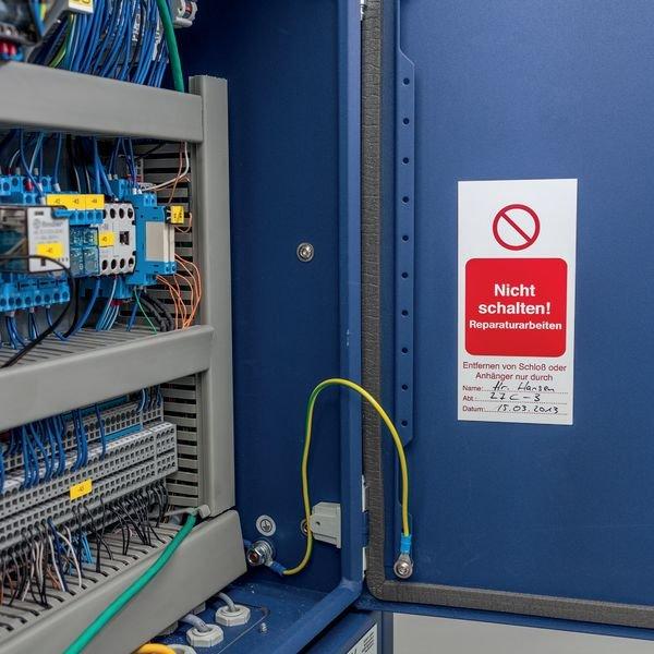 Nicht schalten! Es wird gearbeitet! – Lockout-Etiketten, magnethaftend