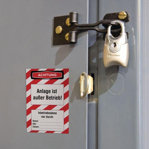 Anlage ist außer Betrieb! – Lockout-Etiketten, auf Rolle - Wartungsanhänger und Lockout-Etiketten