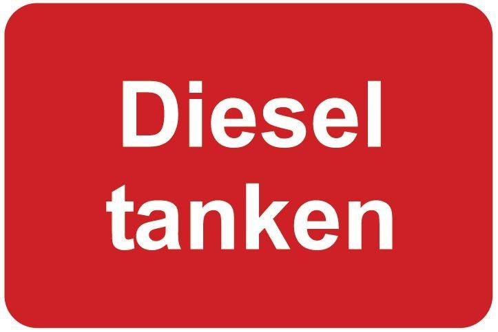 Diesel tanken – Aufkleber zur Fahrzeugkennzeichnung