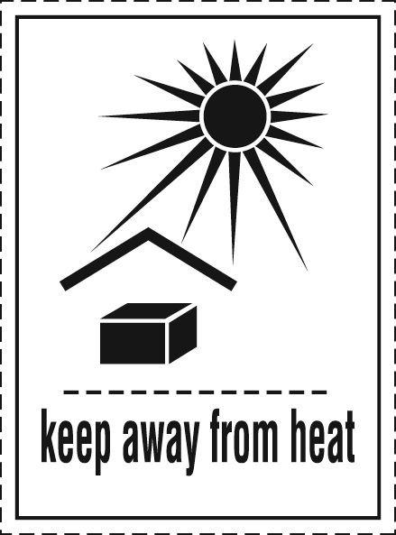 Vor Hitze schützen - Aufkleber für den Transport gefährlicher Güter nach IATA