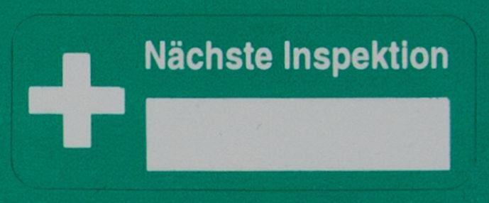 Nächste Inspektion - DuraGuard Prüfsiegel für Erste-Hilfe-Ausrüstung