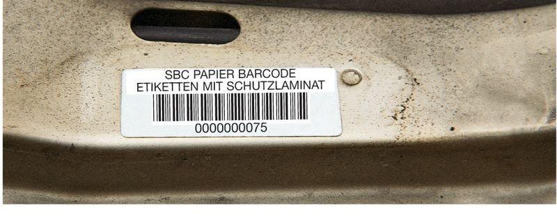 Barcode-Etiketten mit Nummerierung und Text nach Wunsch, Papier, laminiert