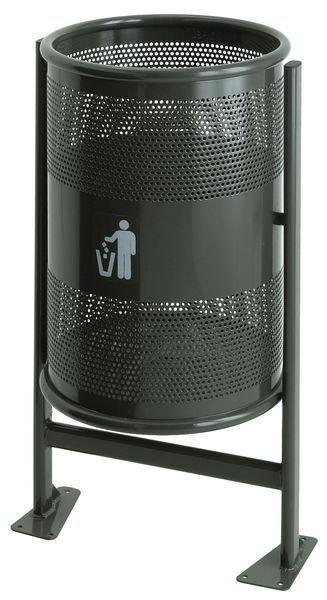 Außen-Abfallkörbe aus Stahlblech, gelocht