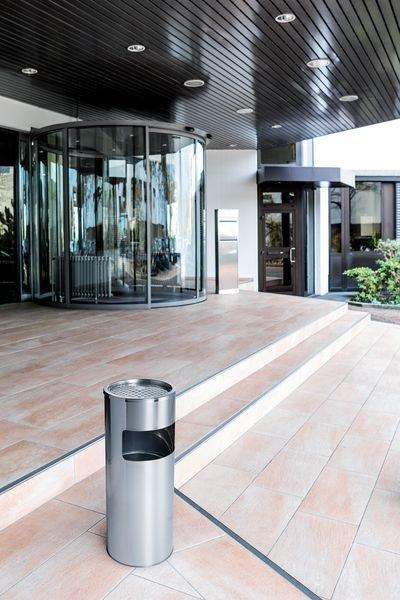 DURABLE Design Abfallbehälter mit Ascher, Edelstahl - Aschenbecher