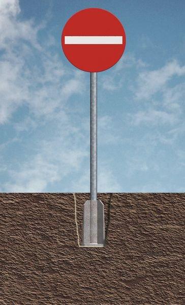 Schilderfundament aus Kunststoff - Rohrpfosten und Schilder-Befestigungen