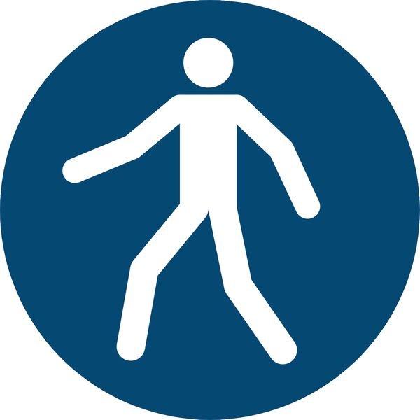 Fußgängerweg benutzen - Gebotszeichen zur Bodenmarkierung