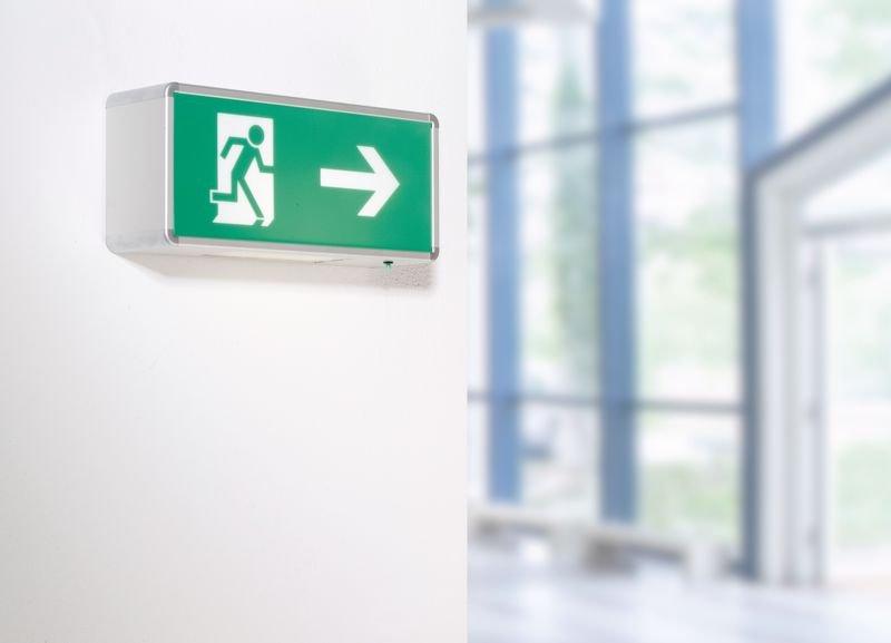 Rettungsweg rechts - Rettungszeichenleuchten mit Symbolen, DIN 4844