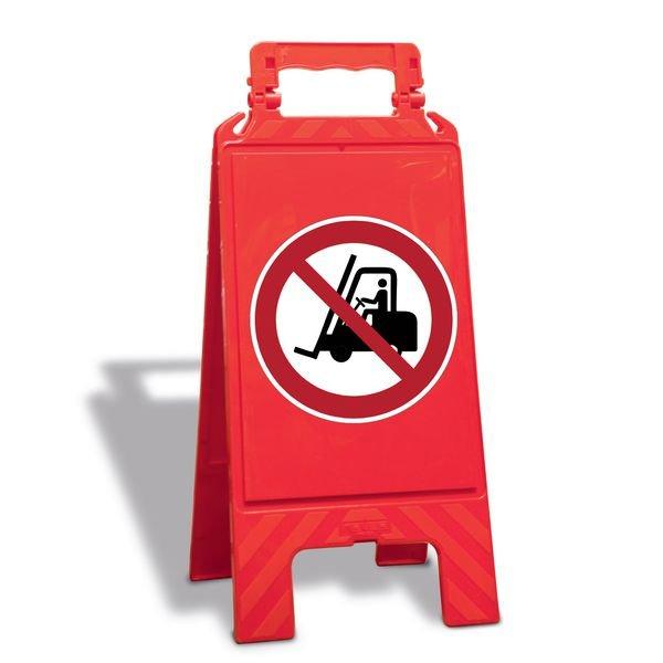 Für Flurförderzeuge verboten - Warnaufsteller mit Sicherheitssymbolen, ASR A1.3-2013, DIN EN ISO 7010