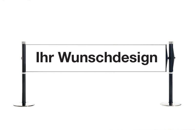 Absperrsysteme mit Banner - Design und Text nach Wunsch