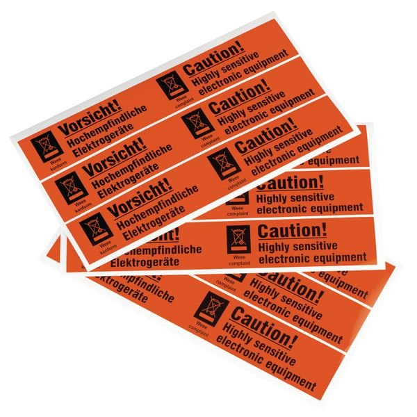Vorsicht! Hochempfindliche Elektrogeräte - Verpackungsetiketten auf Trägerfolie