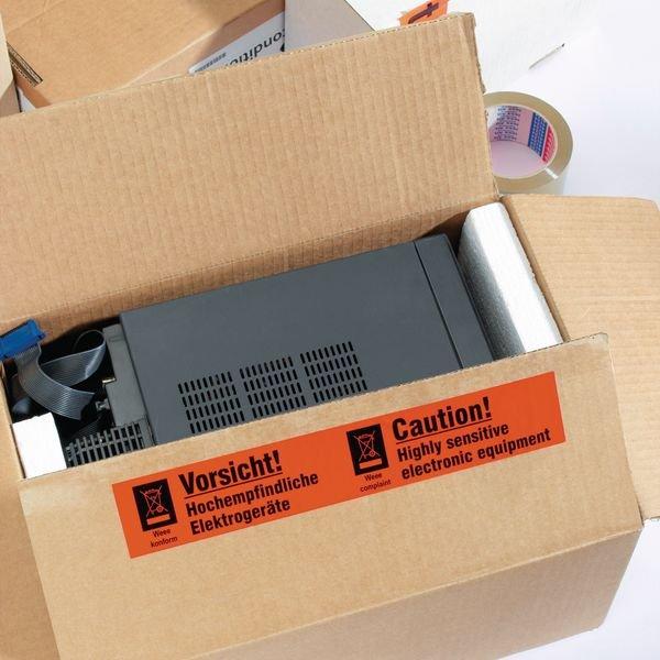Vorsicht! Hochempfindliche Elektrogeräte - Verpackungsetiketten auf Trägerfolie - Versandaufkleber